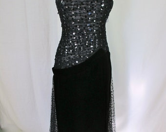 Black Velvet and Sequin Evening Gown