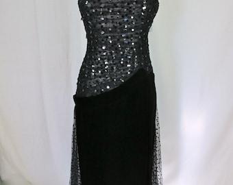 Black Velvet and Sequin Evening Gown