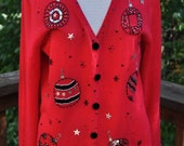 Ugly Christmas sweater. Red knit cardigan. Black sequins and beads. Top for Xmas. Holiday Clothing. - Purl1VintageToo