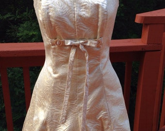 Gold brocade strapless dress, Short bubble skirt, size 5 prom or homecoming dress, 1990s vintage dance formal, Gold bridesmaid dress