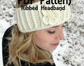 Ribbed Headband Headwrap and Flower Crochet PDF PATTERN