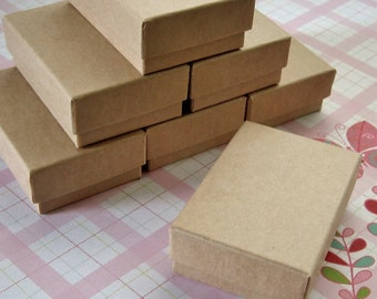 10 High Quality Matte Kraft Cotton Filled Jewelry Boxes 2 1/2 x 1 3/4 x 15/16 inches - Small