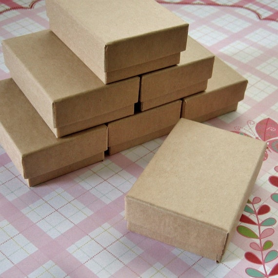 Kraft Cotton Filled Jewelry Boxes High Quality 2 1/2 x 1 3/4 x 15/16 inches - 10 Small
