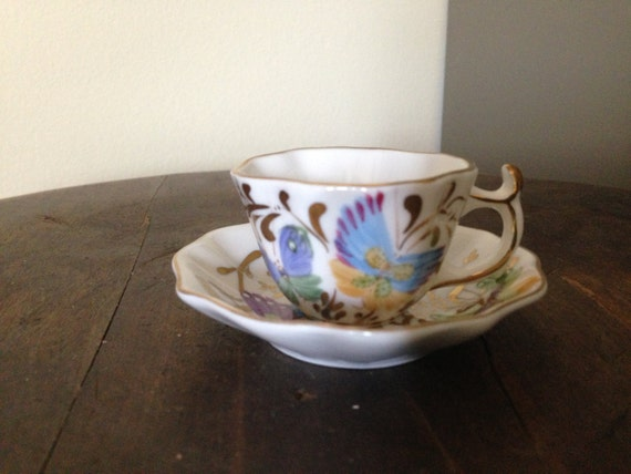 Paris Royal Porcelain Small Cup and Saucer Hand Painted Colorful Butterflies