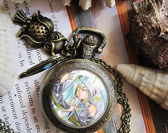 Hatsune Miku  Vocaloid , Dark Mousy  DNangle DN angle necklace pendant dome glass bronze antique pocket watch  keychain key chain