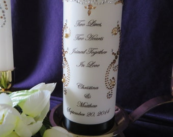 Unity Candle Set - silver and gold rhinestone swirls and gold pearls - Tapers Included