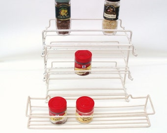 Vintage Wire Spice Racks / Kitchen Storage Space Savers / Cabinet Organizers Set of 2