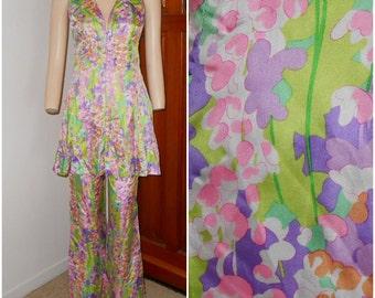 Vintage Watercolor Floral 2 Piece Tassel  Pant Suit