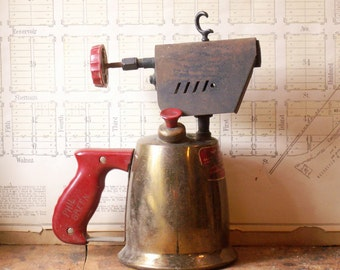 Vintage Montgomery Ward Brass Blow Torch with Red Bakelite Handle