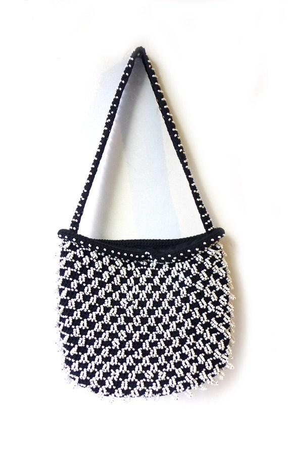 vintage mid century walborg beaded black and white purse