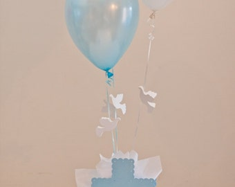 Baptism Centerpieces Boys Communion Decorations - Cross Dove Theme Choice of Colors