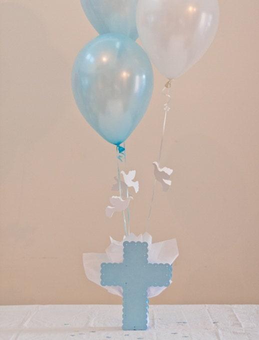 Baptism centerpieces boys communion decorations cross dove for Balloon decoration ideas for baptism
