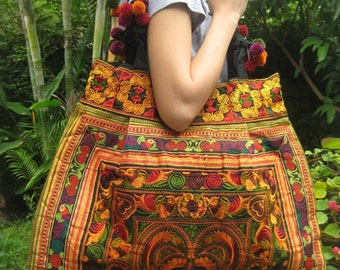 Ethnic Hmong Hobo Boho Vintage style Tote Thai Shoppers Shoulder Tote Bag
