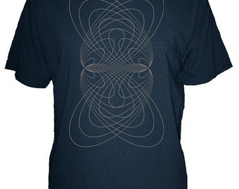 Mens Orbital Rings Geometric Organic Shirt - Mens T Shirt - Geometric - Mens Organic TShirt - Gift Friendly - Hand Screen Printed, Bamboo