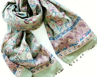 Indian Hand Block Printed Fabric Scarf 100% Organic Military Green and Purple Flowers Print