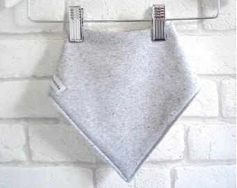 kerchief baby bib : soft grey marl cotton jersey, organic bamboo, cotton jersey, gray baby gift. baby bandana bib, baby dribble bib