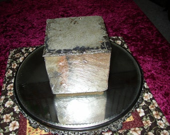 Colorful weathered slate box with hinged lid. # ML-21