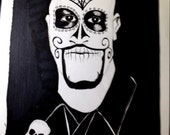 Male Skull Face, Day of the Dead Death Mask - Dia de los Muertos Drawing