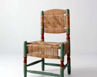 antique rush chair, painted wood chair with woven seat and back