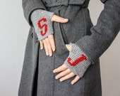 Personalized Gifts  Gloves Personalized Fingerless  Initial Gloves Monogram Gift For Her Gift For Him Gift For Husband  grey fingerless