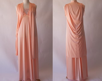 1970s 2 pc. Peach Cream Grecian Goddess Maxi Dress and Cape SZ S