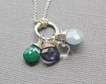 Grandmother Birthstone Necklaces - Large Birthstone Family Pendant - Mother's Necklace with 1 2 3 4 5 6 7 8 Birth stones - Gifts for Grandma