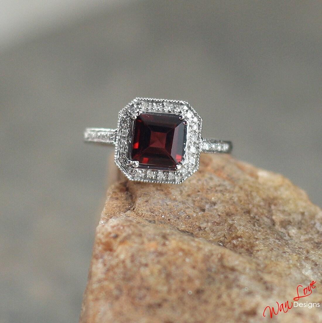 Garnet Bands: Garnet Diamond Halo Antique Filigree Engagement By