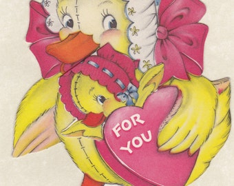 It Would Be Ducky- 1950s Vintage Cards- Be My Valentine- SET of 2- Duck Valentine Decor- Paper Ephemera- Used