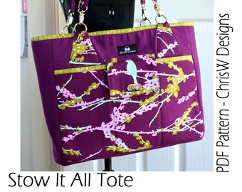 Tote Bag PDF Sewing Pattern - The Stow It All Tote by ChrisW Designs