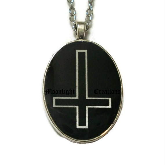 inverted cross necklace pendant black and by inspiredbythemoon