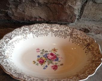 Vintage Canonsburg Golden Fragrance Keystone Oval Serving Pottery Bowl - #1561