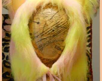 SALE!  Black Light reactive Pink and Yellow Kitty-Ear hood with pink ties