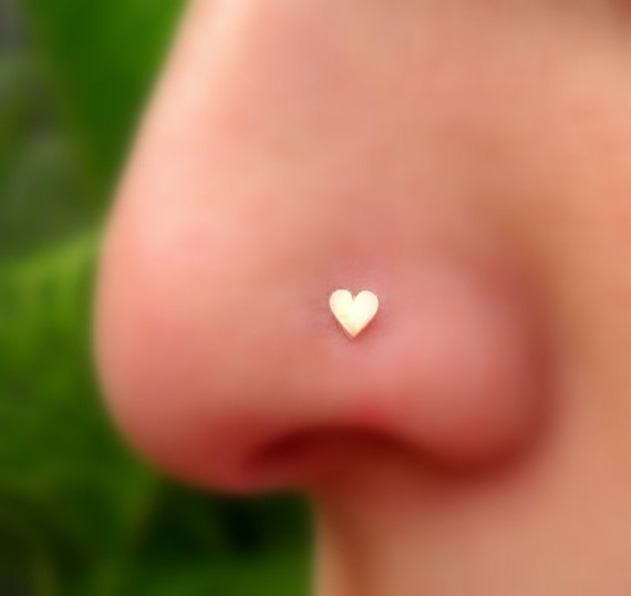Heart Nose Ring/Tragus/Cartilage Earring 14K by ...