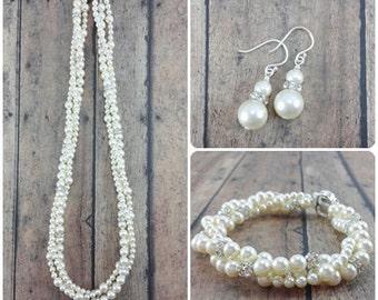 Pearl Jewelry Set, Wedding Bracelet Earring Set, Twisted Pearl Necklace, Swarovski Pearl Set, Pearl Bridal Jewelry Set, Wedding Jewelry Set