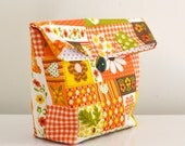 Fall Patchwork Pouch / reusable lunch bag / cosmetic case