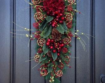 Christmas Wreath-Winter Wreath- Holiday Decor- Vertical- Teardrop Wreath- Door Swag Decor-Holiday Season-Swirls