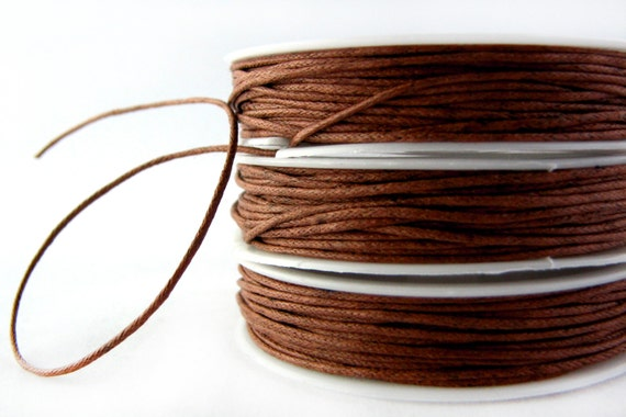 Waxed Cord : 10 yds (30 feet) Med Brown 1mm Waxed Cord String / Bracelet Cord / Macrame Cord / Chinese Knotting Cord / Shamballa Cord 81700