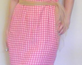 Vintage 1970's pink and white gingham sundress.