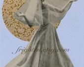 Bridal Art, Paper Collage, Original Art, Blue and Gold, Retro Wedding Art, One of a Kind, Geometric Circles