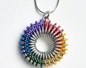 Sunburst Chainmaille Pendant - Rainbow