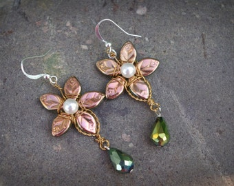 Golden Star Flower Earrings