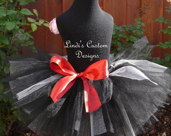 Black and Silver Tutu with Red Accents for Costumes, Parties, Pageants, Twilight Phantom Costume accessories