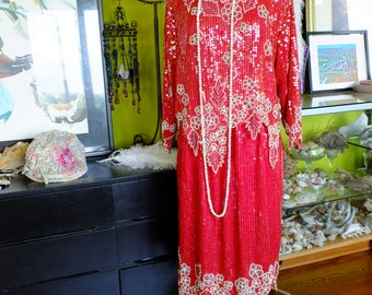 Flapper dress 1920s RUBY Red top and skirt great gatsby wedding party speak easy dress