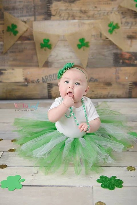 Luck of the Irish St. Patrick's Day Girls' Tutu in Emerald and White