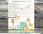 Printing Service: 12 Printed Wish Cards -Made 2 Match Any Theme In Our Shop -Wild Jungle -Pink -Blue