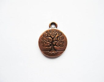 2 TierraCast Round Tree Charms in Copper Tone