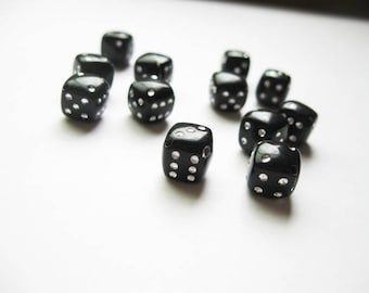 12 Black Dice Beads / Charms - C370