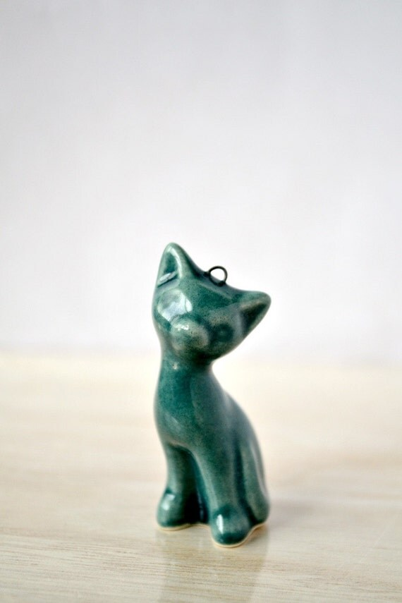 Emerald green - ceramic handmade kitten, cat necklace, dark green, silver plated chain