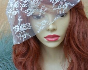 Bridal Champagne Lace Birdcage Veil, Champagne veil, Birdcage Veil, Small lace veil, vintage lace veil, mini veil, champagne mini veil