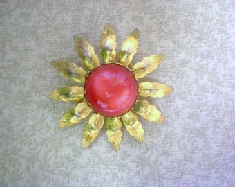 1950s Red Lucite Moonglow Flower Pin